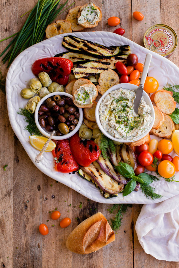 Italian Antipasto Platter with Tuna Crostini