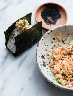 Spicy Tuna Onigiri - traditional Japanese onigiri filled with spicy Bella Portofino tuna.