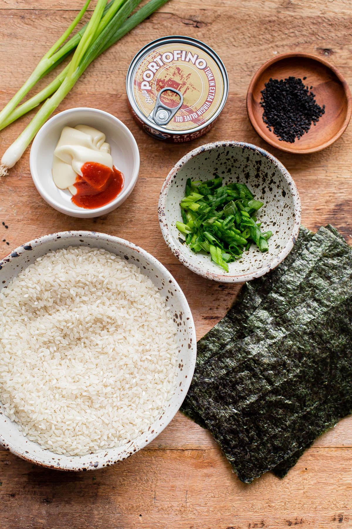 Homemade Tuna Onigiri Ingredients