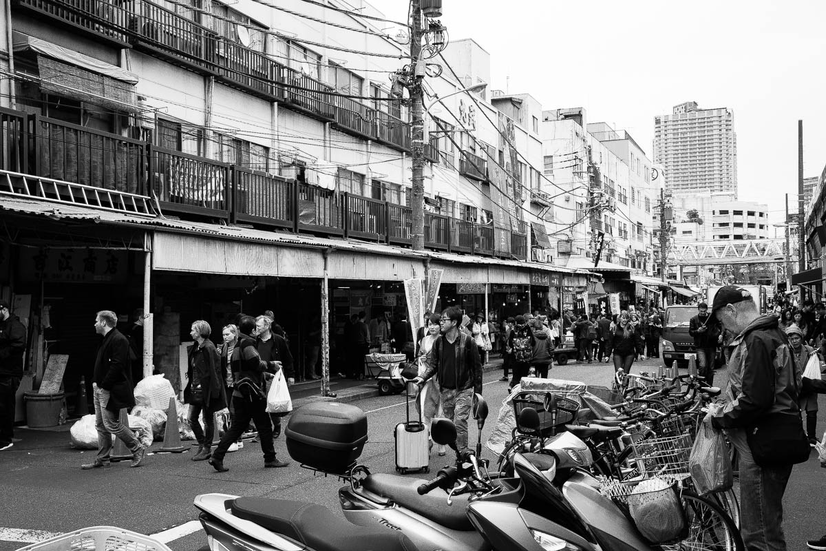 Tsukiji Outside Market Black and White