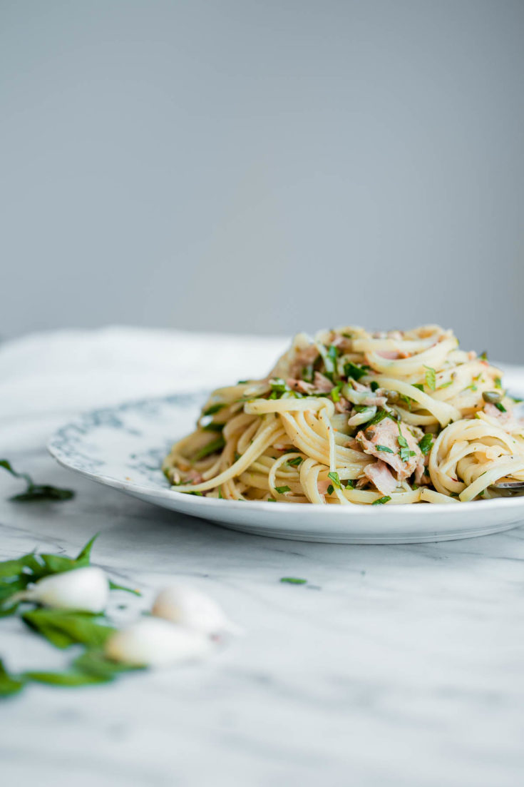Tuna Pasta with Capers and Parsley - a fresh and EASY weeknight pasta recipe made with canned tuna! #pasta #recipe #abeautifulplate #italianrecipes #tunafish