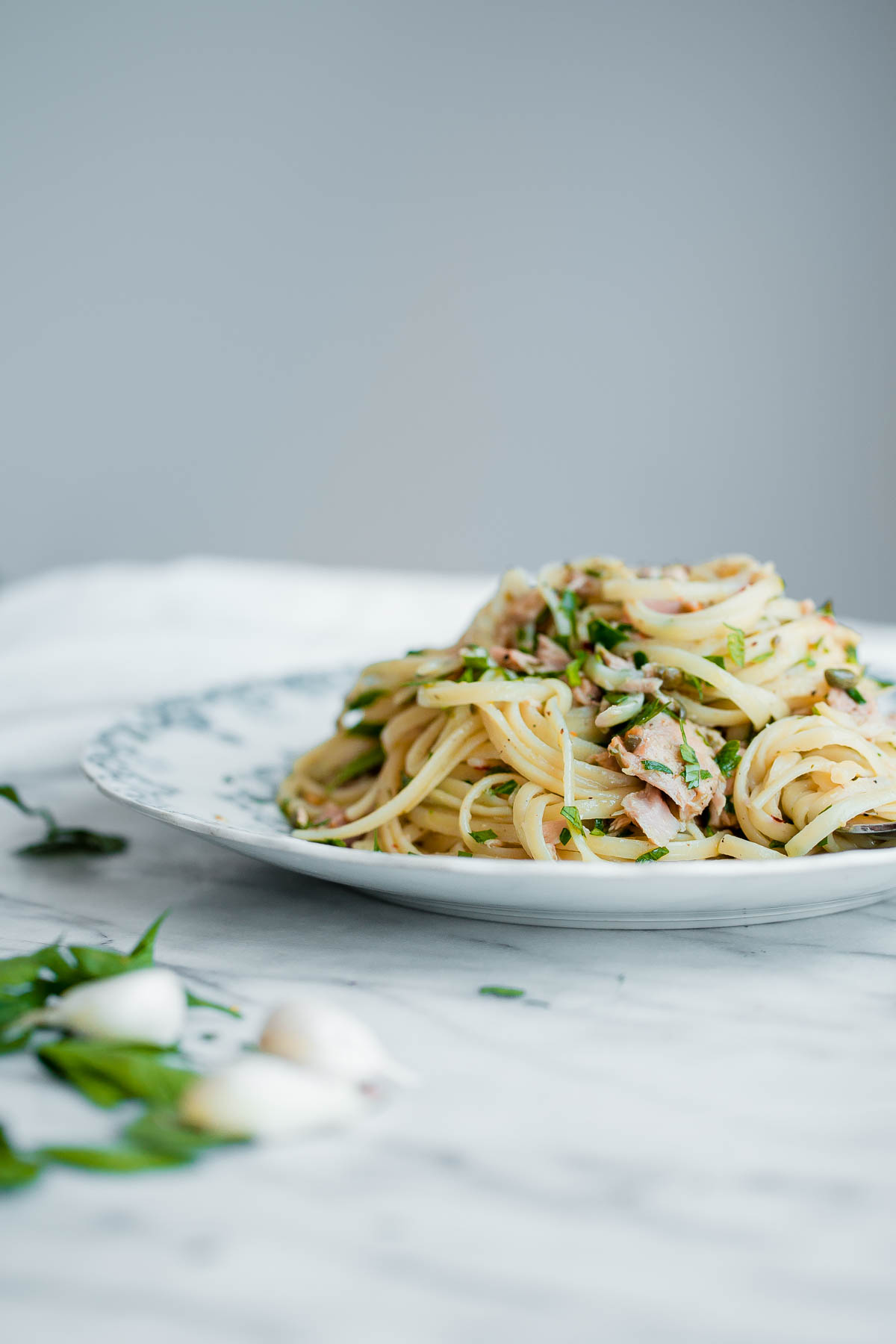 Tuna Pasta with Capers and Parsley - a fresh and EASY weeknight pasta recipe made with canned tuna!
