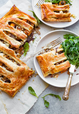 Butternut Squash Pie - a savory puff pastry pie filled with roasted butternut squash, shallots, radicchio, and feta cheese!