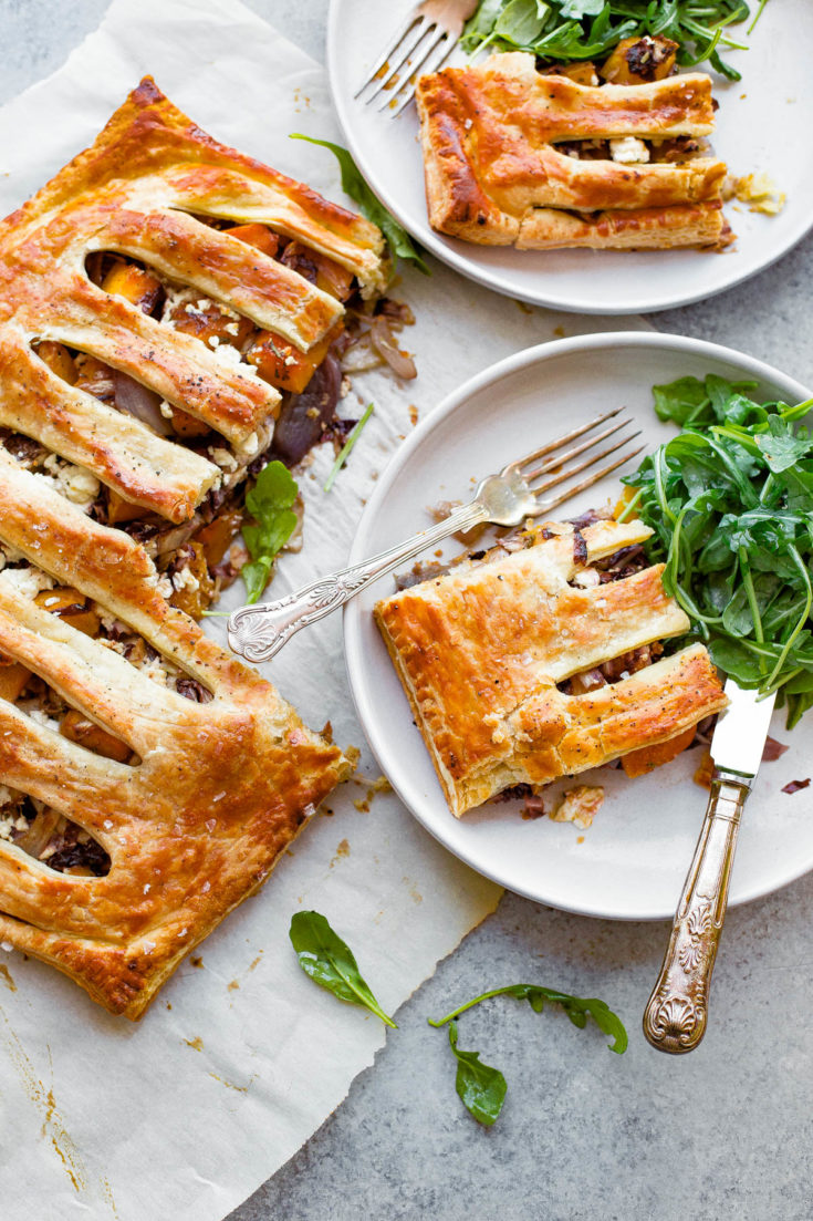 Butternut Squash Pie With Shallots Radicchio And Feta A