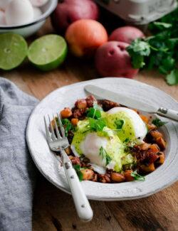 Chorizo and Potato Hash Eggs Benedict with Cilantro Hollandaise