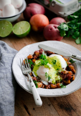 Chorizo and Potato Hash Eggs Benedict with Cilantro Hollandaise