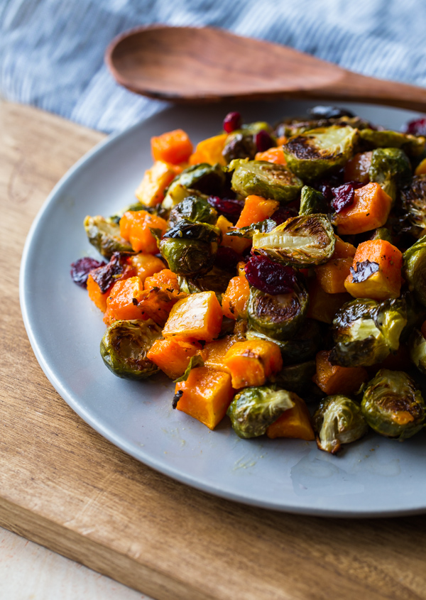 Roasted Brussels Sprouts and Squash with Dried Cranberries and Dijon Vinaigrette - and other fall recipes!