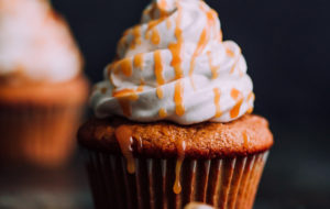 Pumpkin Cupcakes with Marshmallow Frosting and Caramel. This decadent fall cupcakes are lightly spiced and make a wonderful portable fall dessert.
