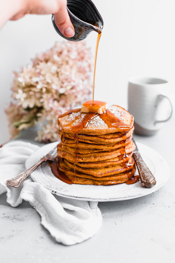 Pumpkin Souffle Pancakes. These lightly spiced pumpkin pancakes get their fluffy texture from the addition of whipped egg whites. A family favorite for years! #recipe #pumpkin #pumpkinrecipe #breakfast #abeautifulplate #recipe