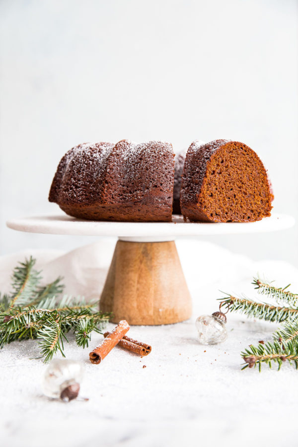 Gingerbread Bundt Cake - a festive gingerbread cake recipe for the holidays. Served with eggnog whipped cream.
