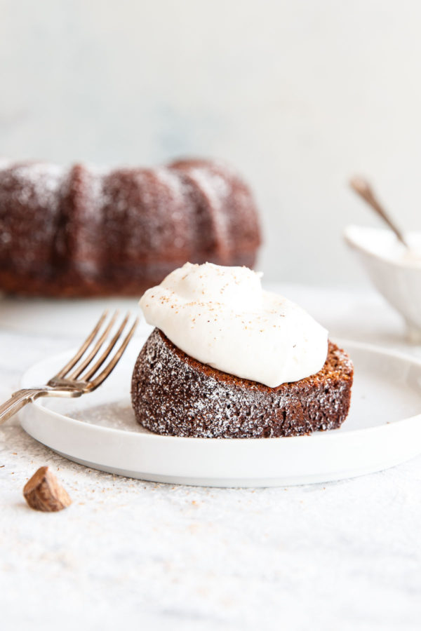 Gingerbread Bundt Cake with Eggnog Whipped Cream