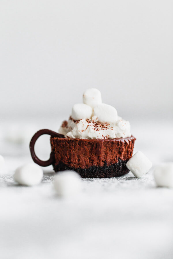 Hot Cocoa Cheesecake Minis – these SIMPLE, no-fail mini cheesecakes are given a hot cocoa twist with whipped cream, mini marshmallows, and a light dusting of cocoa powder! [sponsored by @SpreadPhilly] #cheesecake #holiday #dessert #ItMustBeThePhilly