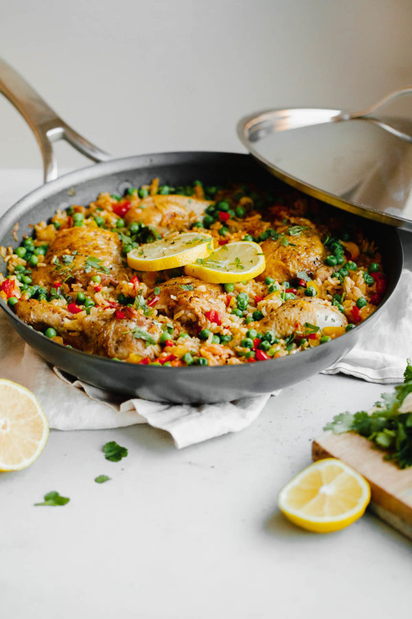 Arroz Con Pollo in a Pan