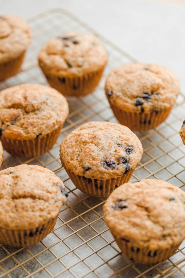 Whole Wheat Blueberry Muffins on Cooling Rack