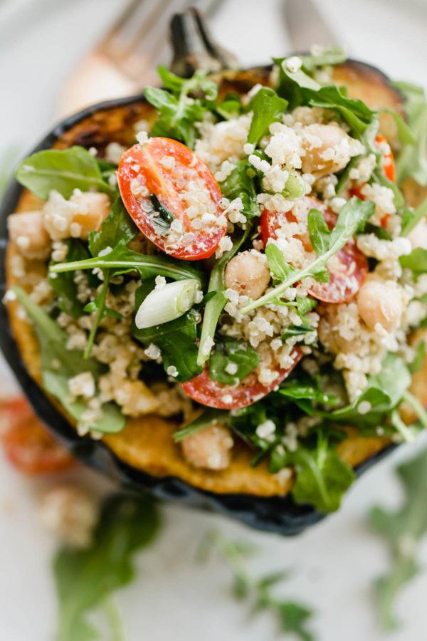 Roasted Acorn Squash Half Filled with Quinoa Salad