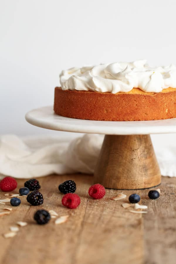 Lemon Coconut Cake with Whipped Cream on Top