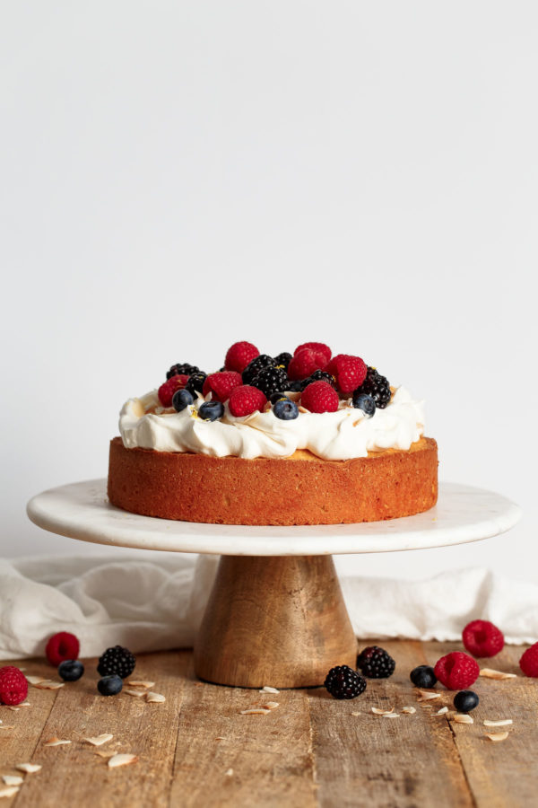 Lemon Coconut Cake with Whipped Cream and Berries