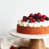 Lemon Coconut Cake with Cream and Berries