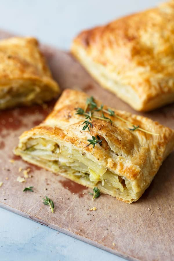 Potato Leek Cornish Pasties on Cutting Board