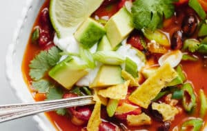 Bowl of Vegetarian Chili with Toppings