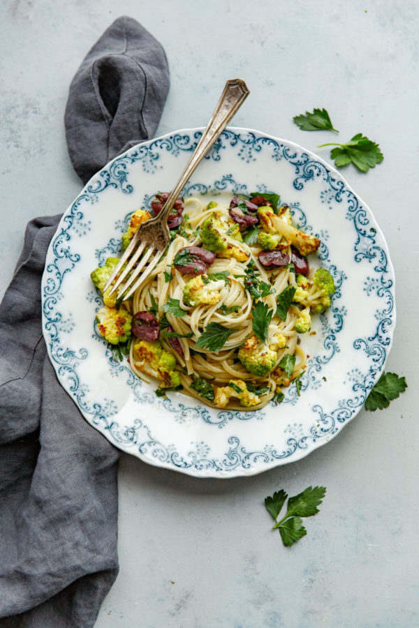 Romanesco Cauliflower Pasta with Olives, Capers, and Parsley