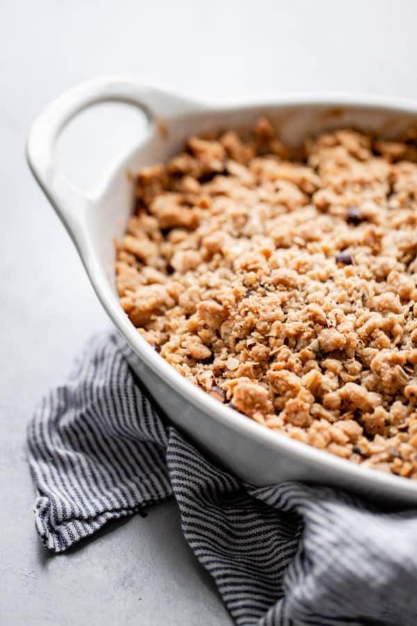 Apple Hazelnut Crisp in Baking Dish