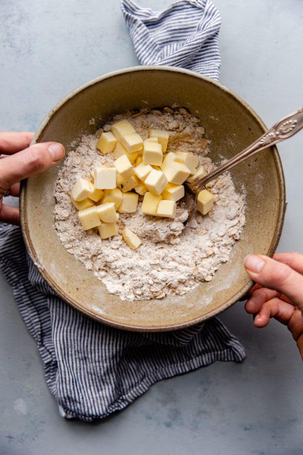 Apple Crisp Topping Ingredients in Bowl