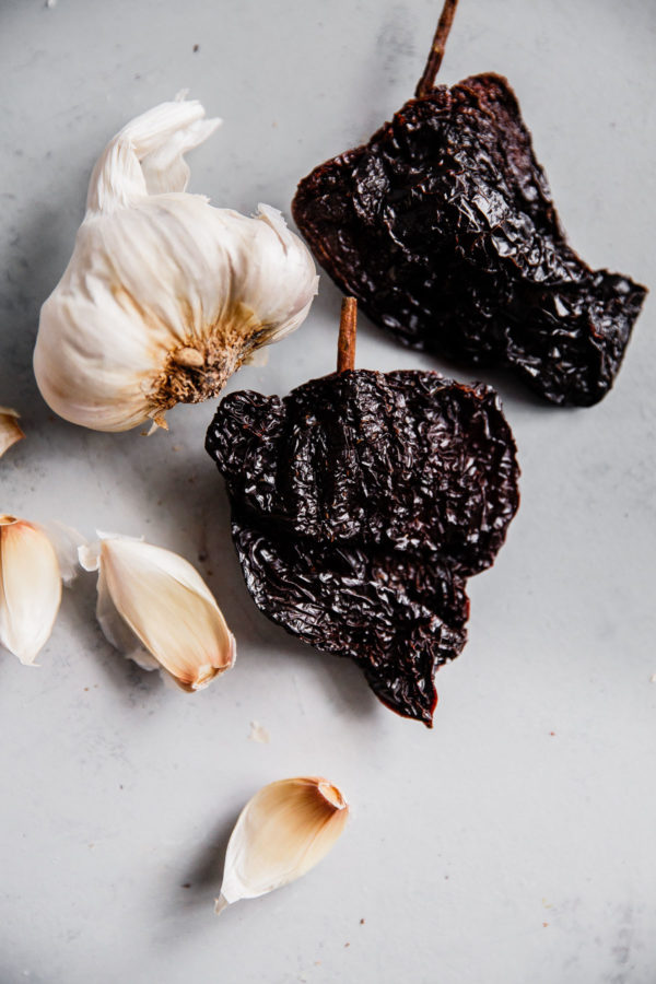 Dried Ancho Chiles and Raw Garlic