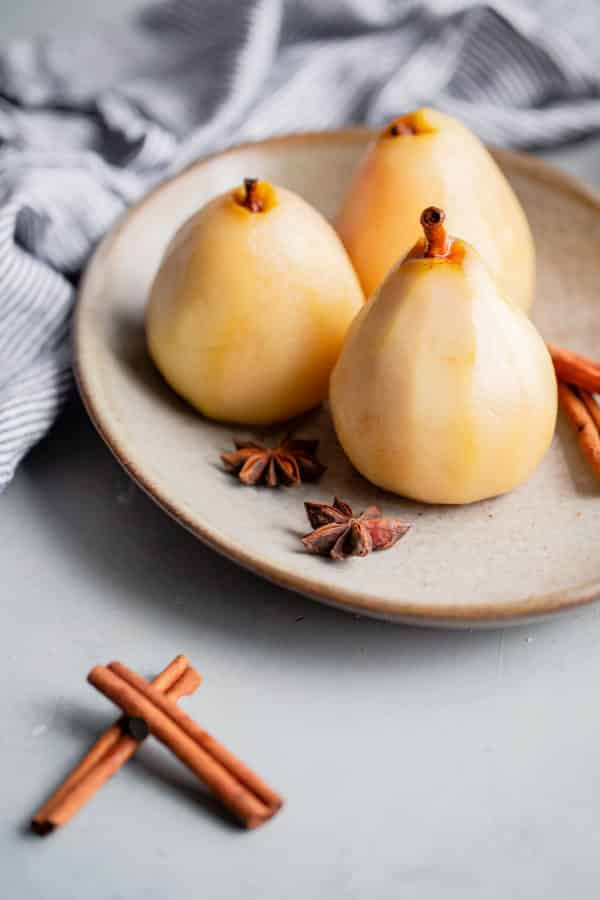 Poached Pears on Platter