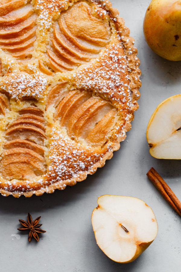Pear Frangipane Tart with Slice Cut Out