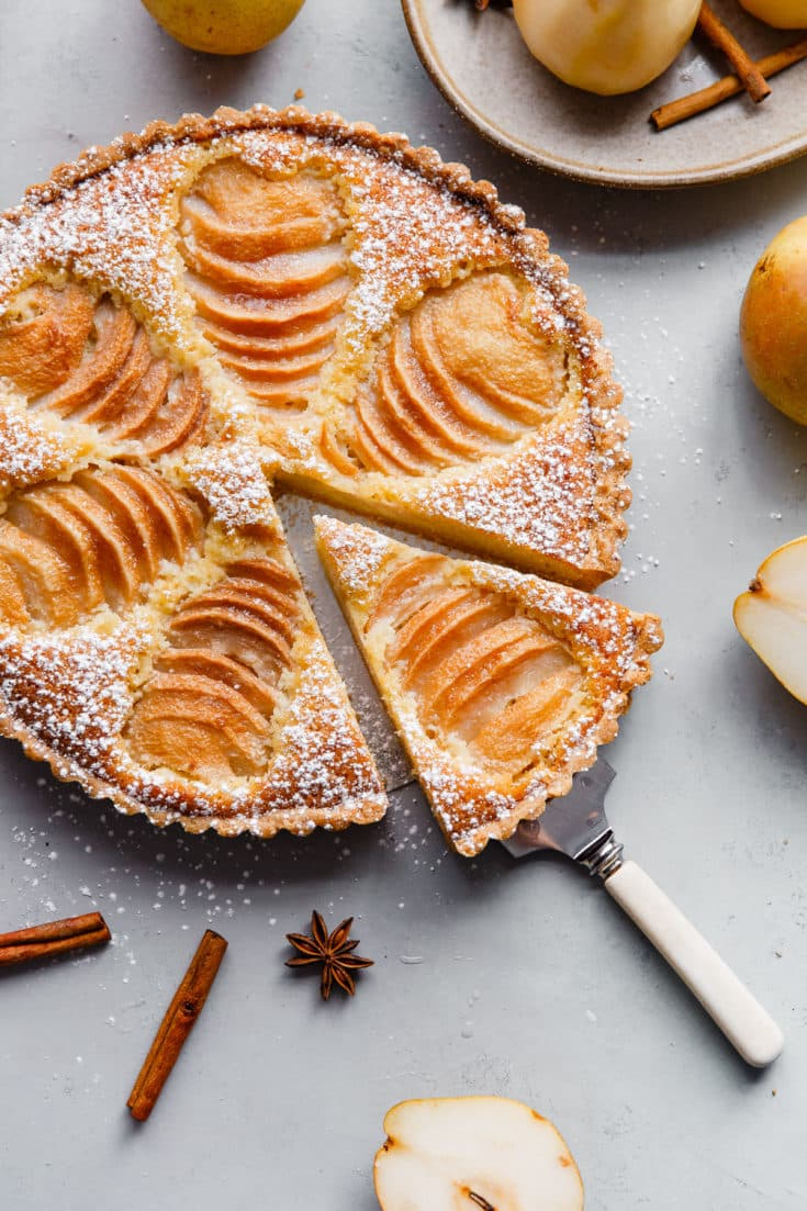 r tart recipe is made with a sweet tart dough and filled with poached pears and frangipane (almond cream). This tart is delicious and is wonderful served on Thanksgiving or over the holiday season! Top with powdered sugar or apricot glaze. #tart #recipe #abeautifulplate #pear #frangipane #poached #French #dessert #pastry