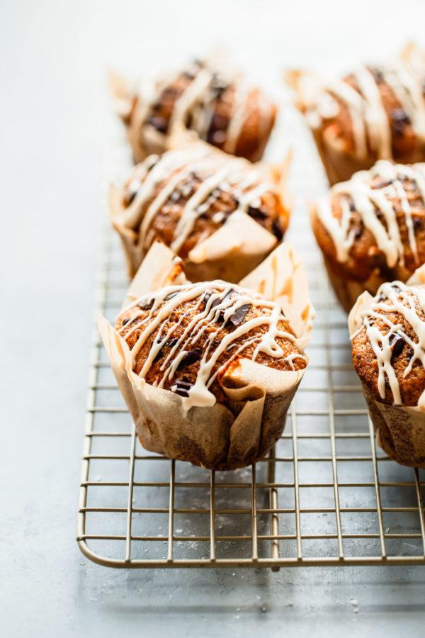 Pumpkin Chocolate Chip Muffins with Coffee Glaze