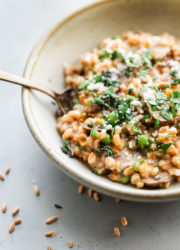 Farro Risotto with Mushrooms and Peas