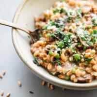 Easy Mushroom Farro Risotto