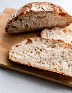 Sliced Sourdough Bread on Cutting Board