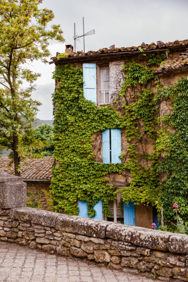 Provence France House with Ivy and Blue Shutters
