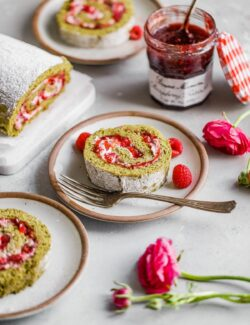 Raspberry Matcha Roll Cake