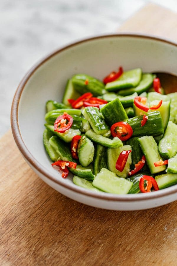 Chinese Cucumber Salad in Bowl