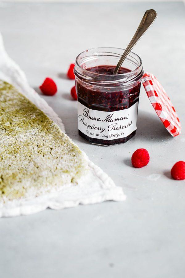 Matcha Roll Cake with Bonne Maman Raspberry Preserves