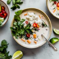Vegetarian Thai Coconut Soup with Sweet Potato and Kale