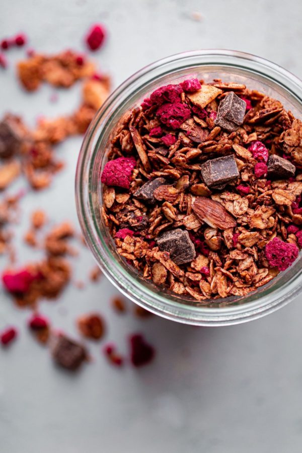 Chocolate Chunk Raspberry Granola
