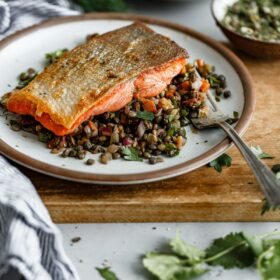 Pan Seared Salmon with French Lentil Salad
