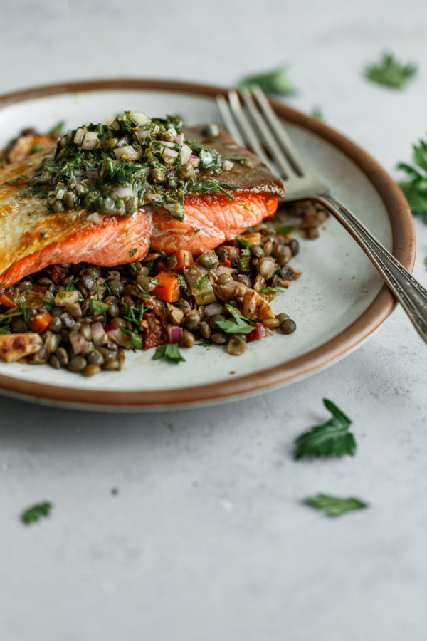 Pan Seared Salmon with Caper Herb Vinaigrette and French Lentil Salad