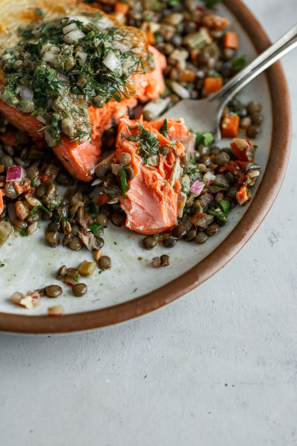 Pan Seared Salmon with Lentils