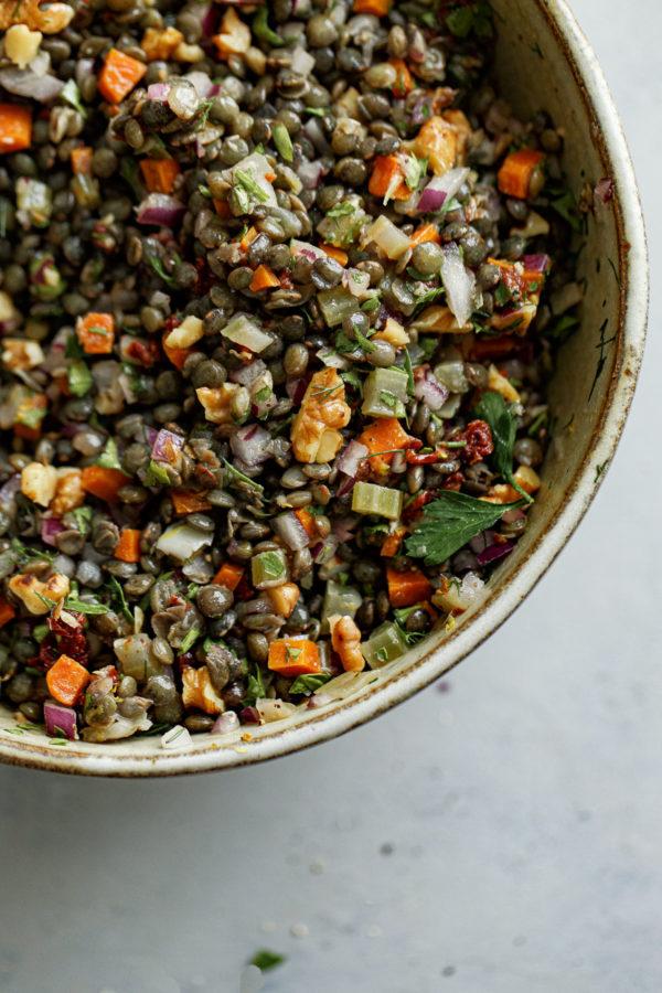 French Lentil Salad with Vegetables