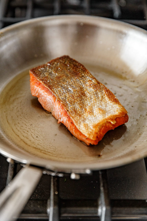Pan Seared Salmon in a Stainless Steel All Clad Skillet