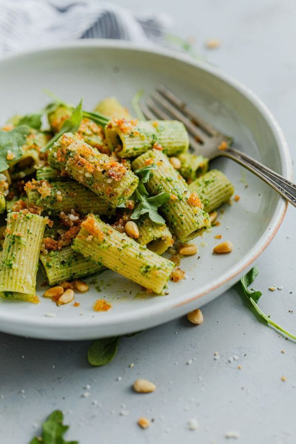 Pasta with Arugula Pesto topped with Garlicky Breadcrumbs