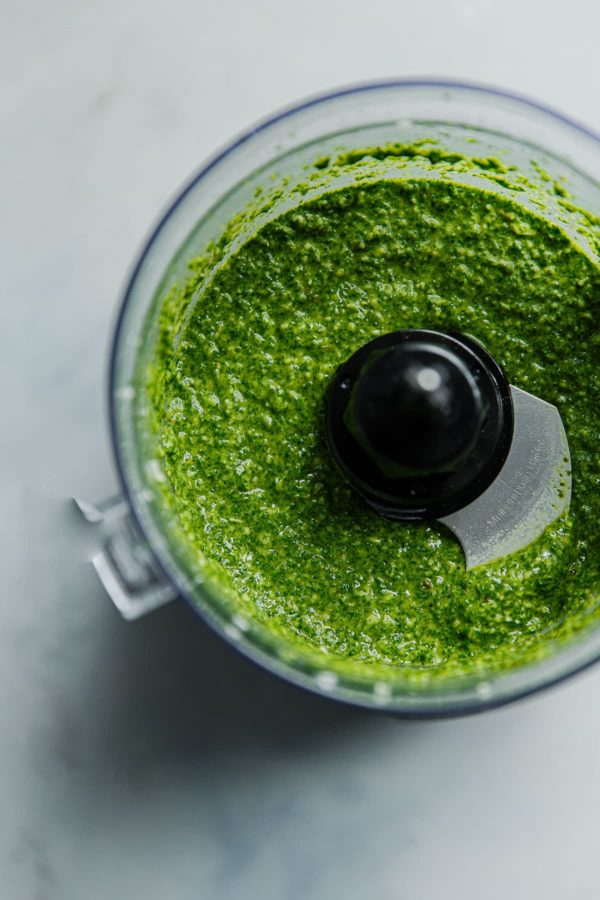 Arugula Pesto in Food Processor