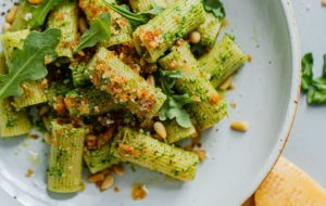 Arugula Pesto Pasta with Garlicky Breadcrumbs