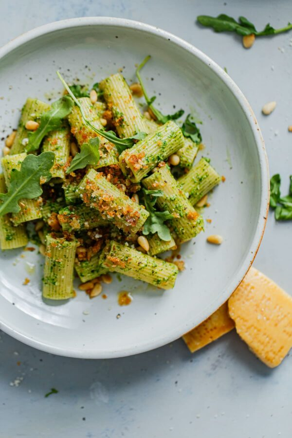 Arugula Pesto Pasta with Garlicky Breadcrumbs on Plate